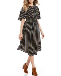 Blu Pepper - Stripe Criss Cross Wrap Front Midi Dress - Lyst
