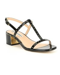 Karl Lagerfeld - Tineet Patent Leather Studded Block Heel Dress Sandals - Lyst