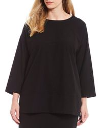 Eileen Fisher - Plus Size Round Neck Bracelet Sleeve Tunic - Lyst