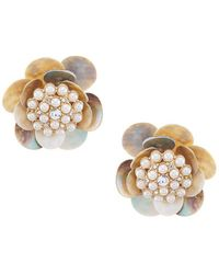 Belle By Badgley Mischka - Pearl Flower Stud Earrings - Lyst