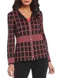 Ming Wang - Zip Front Box Pattern Jacket - Lyst