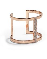 Vince Camuto | Pave Rose Gold T-bar Cuff Bracelet | Lyst