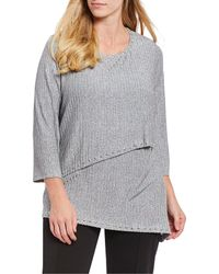 Ruby Rd. - Plus Size Embellished Scoop Neck Solid Heather Asymmetrical Hem Ribbed Knit Top - Lyst