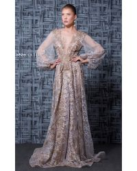 Mnm Couture - Beige Long Sleeve Beaded Evening Gown - Lyst