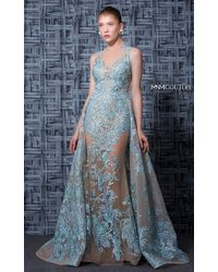 Mnm Couture - Nude Blue Sleeveless Halter Neck Evening Gown - Lyst