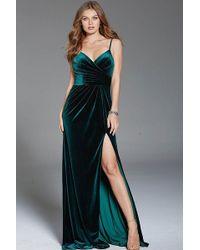Jovani - Green Spaghetti Straps V Neck Velvet Gown - Lyst
