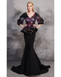 Mnm Couture - Black Floral Peplum Evening Gown - Lyst