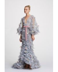 Marchesa Couture Deep V Neck Tulle Gown