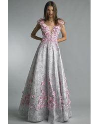 Basix Black Label | Cap Sleeve Floral Applique Gown | Lyst