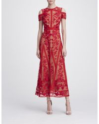 705e4beaec Marchesa notte Red Short Sleeve Lace Applique Midi Tea Dress in Red ...