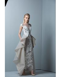 Saiid Kobeisy - Sk By Gray Crepe Tulle Evening Gown - Lyst