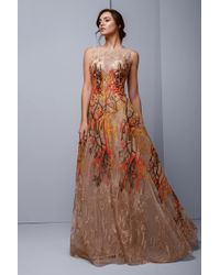 d102c585dd District 5 Boutique · Gemy Maalouf - Beside Couture By Gemy Sleeveless  Embroidered Tulle Gown - Lyst