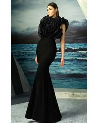 Mnm Couture - Sleeveless Ruffled Bodice Gown - Lyst