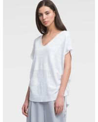 DKNY - Short-sleeve Slub Pullover With Side Ties - Lyst
