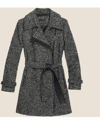 DKNY - Belted Tweed Coat - Lyst