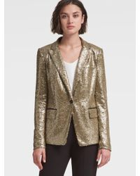 DKNY - Gold Sequined Blazer - Lyst