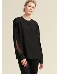 DKNY - Keyhole Top With Sleeve Detail - Lyst