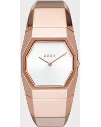 DKNY - Beekman 32mm Rose Gold-tone Stainless Steel Watch With Faceted Bracelet - Lyst
