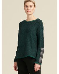 DKNY - Textured Pullover With Faux-leather Sleeve - Lyst