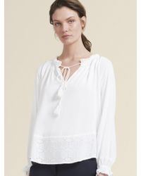 DKNY - Eyelet Embroidered Tie-neck Top - Lyst