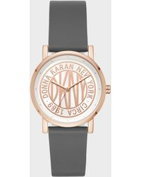 DKNY - Soho Gray Leather Women's Watch - Lyst