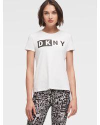 DKNY - Two-tone Logo Tee - Lyst