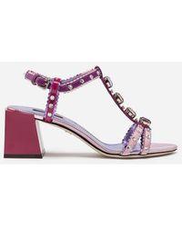 Dolce & Gabbana - Sandalias Con Mix De Materiales Y Aplicaciones Joya - Lyst
