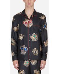 Dolce & Gabbana - Camisa De Pijama En Seda Estampada - Lyst