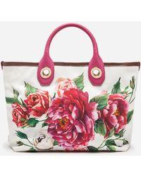 Dolce & Gabbana - Small Capri Shopping Bag In Printed Canvas - Lyst