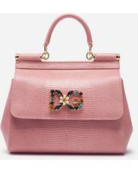 0a286af2be2d Dolce   Gabbana - Small Sicily Handbag In Iguana Print Calfskin With Dg Logo  Crystals -