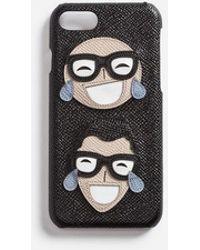 Dolce & Gabbana - Coque Iphone 7 En Cuir De Veau Dauphine, Écusson Décoratif Motif Stylistes - Lyst