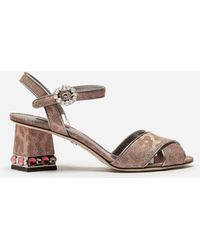 Dolce & Gabbana - Sandals In Glittery Leopard-print With Bejeweled Heel - Lyst