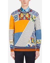 Dolce & Gabbana - Printed Cashmere And Silk Jumper - Lyst