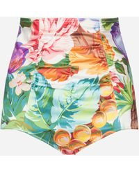 Dolce & Gabbana - Culottes In Flowers And Fruit Printed Silk - Lyst