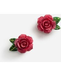 Dolce & Gabbana - Earrings With Roses - Lyst