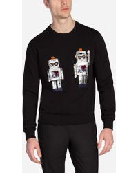Dolce & Gabbana   Cotton Sweatshirt With Patches Of The Designers   Lyst