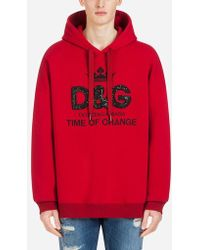 Dolce & Gabbana - Printed Cotton Sweatshirt With Hood And Crystals - Lyst