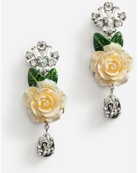 Dolce & Gabbana - Drop Earrings With Roses - Lyst