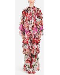 Dolce & Gabbana - Silk Coat In Peony Print - Lyst
