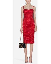 Dolce & Gabbana - Vestido De Tubo De Raso De Seda - Lyst