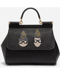df918c3fd5f Dolce   Gabbana - Medium Sicily Bag In Dauphine Calfskin With Patches Of  The Designers -