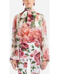 Dolce & Gabbana - Peony-print Silk Blouse - Lyst