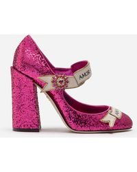 Dolce & Gabbana - Mary Jane In Glitter With Scroll - Lyst