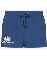 Dolce & Gabbana - Bañador Boxer Corto, Con Estampado De Corona Y Con Funda - Lyst