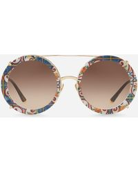 Dolce & Gabbana - Round Clip-on Sunglasses In Gold Metal In Majolica Print - Lyst