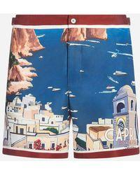 Dolce & Gabbana - Pantalones Cortos Playeros Con Estampado - Lyst