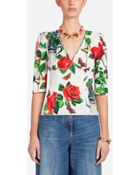 Dolce & Gabbana - Printed Charmeuse Top - Lyst