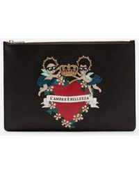 Dolce & Gabbana - Portadocumenti In Vitello Con Patch Ricamo Stilisti - Lyst
