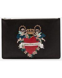 Dolce & Gabbana - Portadocumentos De Becerro Con Parche Y Bordado De Los Diseñadores - Lyst