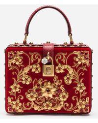 Dolce & Gabbana - Tasche Dolce Box Aus Samt Mit Stickerei Und Applikationen - Lyst